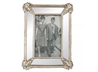 Stříbrný fotorámeček se zrcadlovým okrajem - 18*23 cm / 10*15 cm