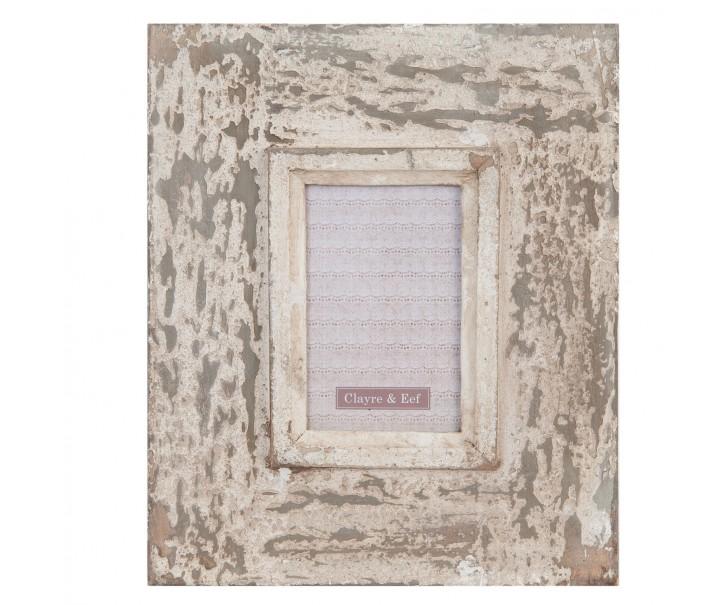 Krémový dřevěný fotorámeček Antik - 26*3*31 cm / 10*15 cm