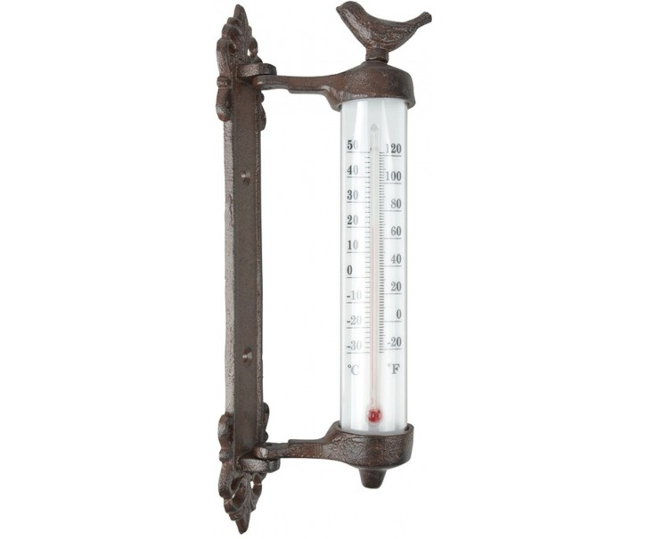 Venkovní litinový teploměr s ptáčkem - 9,5*5*27 cm