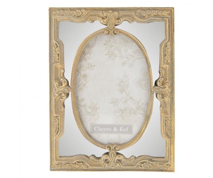 Zlatý fotorámeček s ornamentem - 16*2*21 cm / 10*15 cm