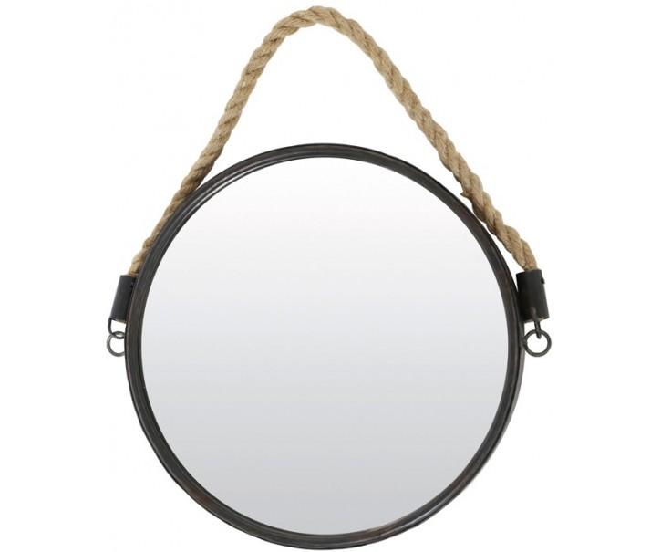 Kulaté kovové zrcadlo s provazem Forge -  Ø38 cm