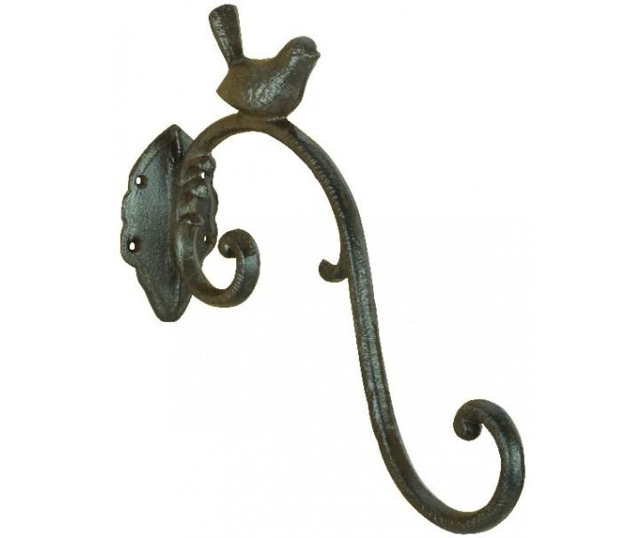 Kovový nástěnný hák s ptáčkem  - 6,7*27,4*24 cm