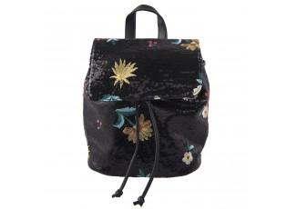 Černý batoh s flitry Flower - 24*16*28 cm