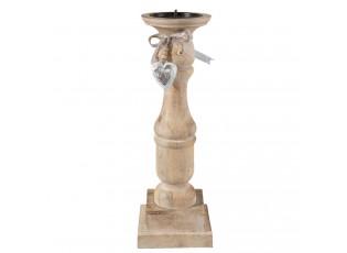 Dřevěný svícen se srdíčkem  - 13*13*40 cm