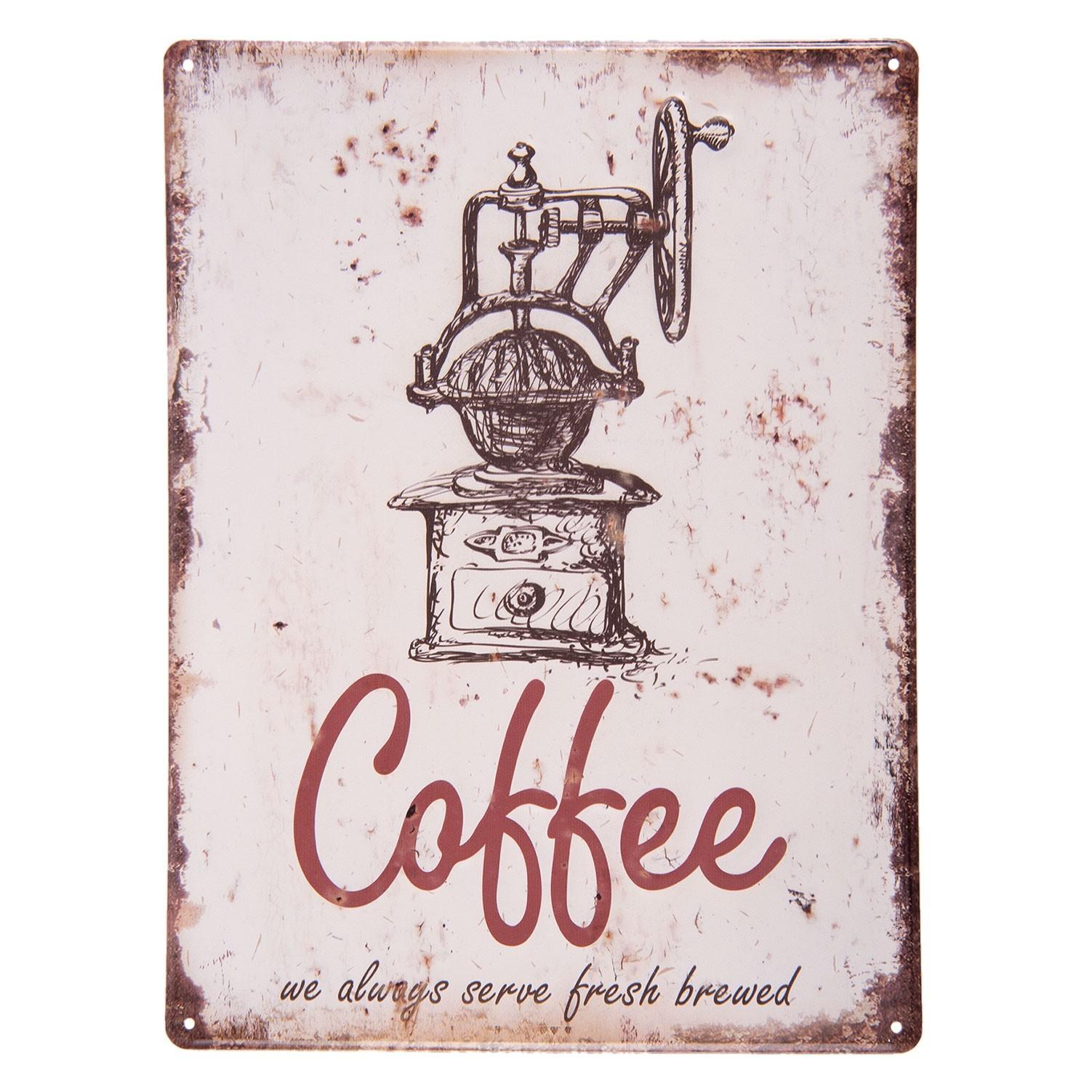 Nástěnná plechová cedule Coffee - 30*40 cm