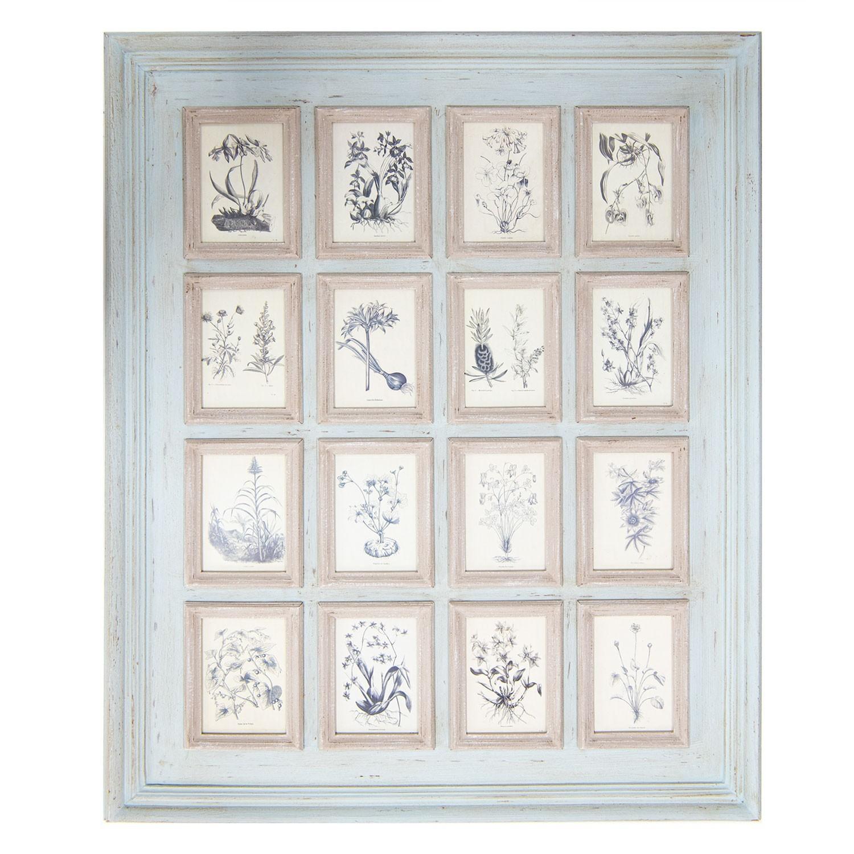 Modrý nástěnný fotorám s fotorámečky Antique - 90*110*4 cm