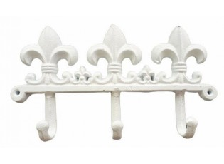 Bílý nástěnný litinový věšák s háčky -24*4*13 cm