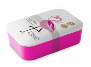 Bambusový svačinový box Pretty Flamingo - 20*13*6,5cm