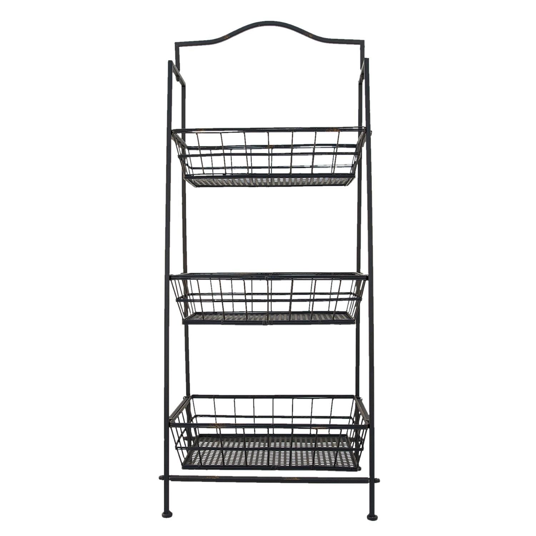 Černý kovový stojan s košíky - 43*36*103 cm