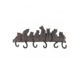 Hnědý nástěnný litinový věšák s háčky Cats -36*5*16 cm
