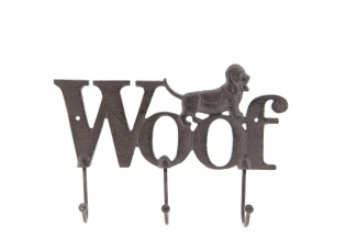 Hnědý nástěnný litinový věšák s háčky Woof - 26*4*18 cm