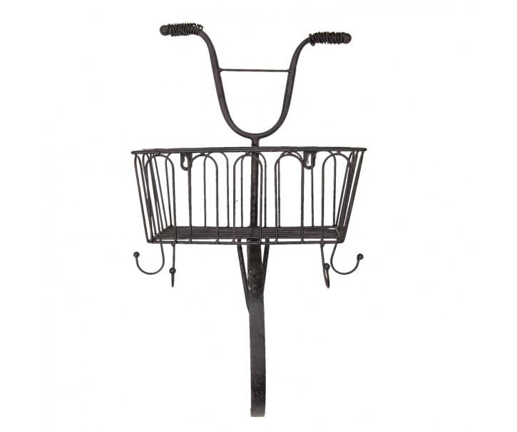 Hnědý nástěnný kovový věšák s košíkem - 28*19*50 cm
