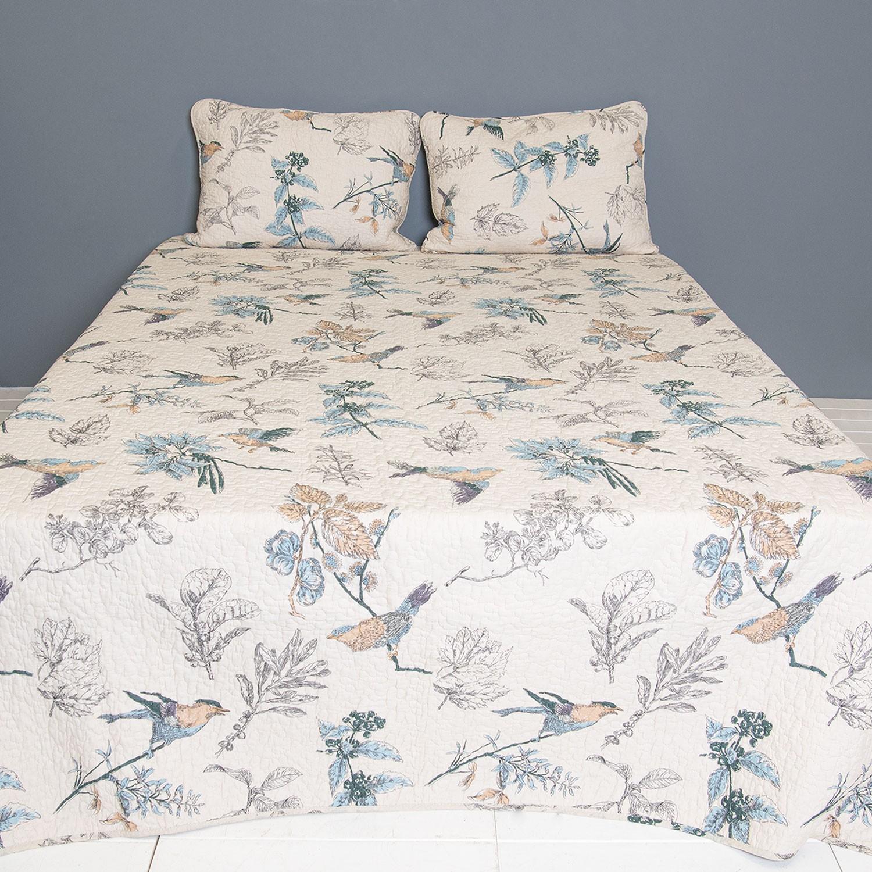 Přehoz na dvoulůžkové postele s 2povlaky Birds - 230*250/ (2) 50*70 cm