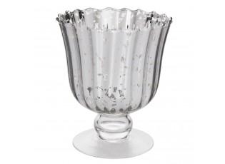 Skleněná dekorační váza/ svícen na noze - Ø 14*16 cm / 0.75 L