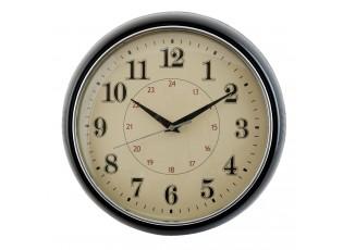 Nástěnné rero hodiny černé - Ø 28*8 cm / 1xAA