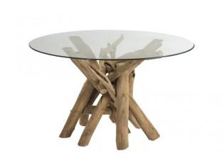 Kulatý dřevěný stůl se skleněnou deskou Branch - Ø128*75 cm