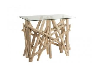 Konzolový dřevěný stůl se skleněnou deskou Branch - 96*47*77cm
