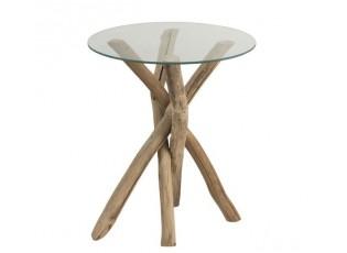 Odkládací dřevěný stolek se skleněnou deskou Branch - Ø50*58cm