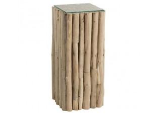 Odkládací dřevěný stolek se skleněnou deskou Branch - 33*33*75cm
