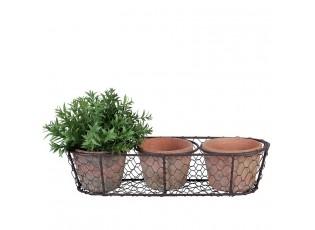 Květináčky v drátěném košíčku - 37*8*13 cm