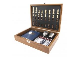 Cestovní šachy v kufříku s placatkou - 23,5*18*6 cm