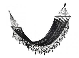 Černá háčkovaná bavlněná hammaka Crochet  - 220*77 cm