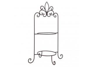 Hnědý kovový ozdobný stojan na talíře dvoupatrový - 38*30*57 cm