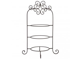 Hnědý kovový ozdobný stojan na talíře třípatrový - 36*28*54 cm