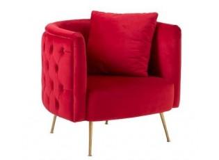 Červené sametové křeslo Cherry s polštářkem - 79*83*80 cm