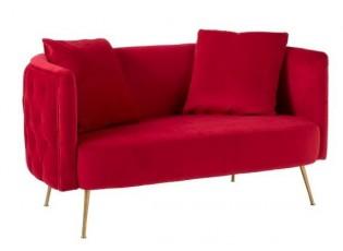 Červená sametová sedačka Cherry s polštářky - 144*79*80 cm