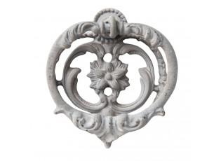 Šedé litinové klepadlo na dveře Ornament - 6*2*6 cm