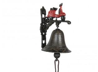 Litinový zvonek s motorkou Scooter - 13*10*16 cm
