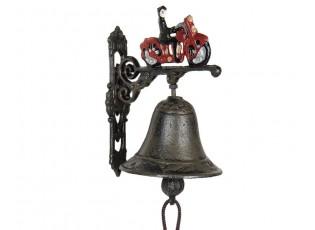 Litinový zvonek s motorkou - 13*10*16 cm
