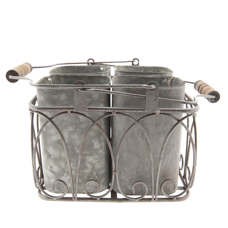 Clayre & Eef Šedé plechové dózy v drátěném košíku - 25*24*24/39 cm