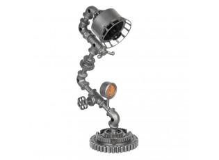 Stříbrná kovová stolní lampa Design 2 - 25*15*48 cm