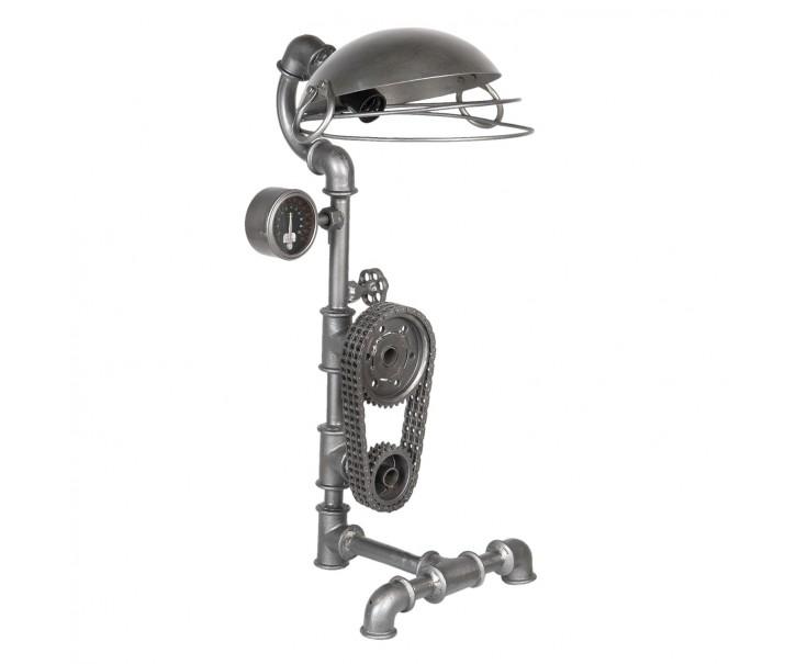 Stříbrná kovová stolní lampa Design 3 - 36*29*69 cm