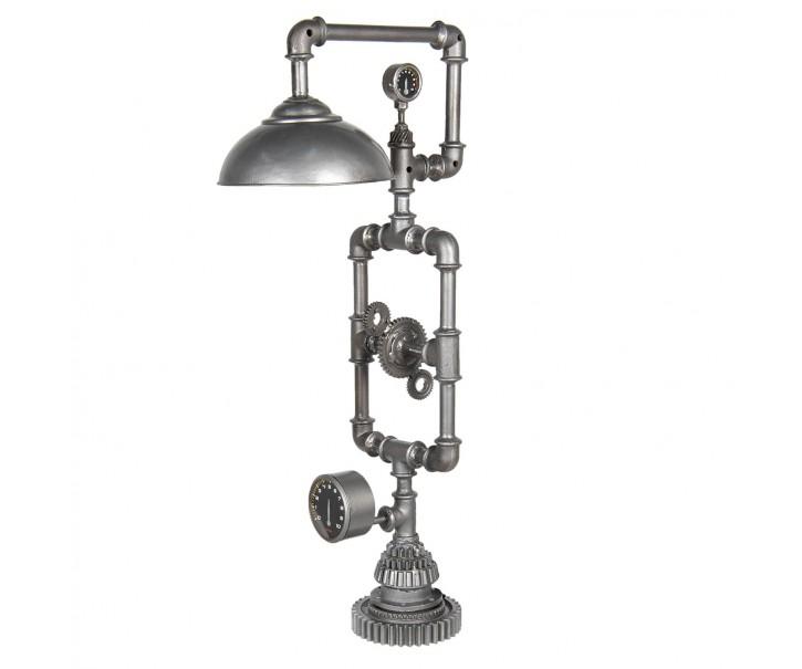 Stříbrná kovová stojací lampa Design - 46*26*98 cm