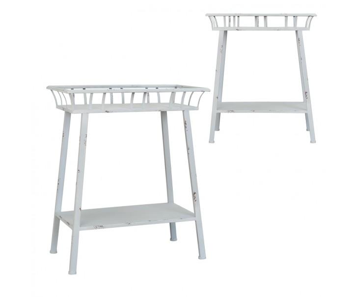 Šedý kovový odkládací stolek - 59*31*73 cm