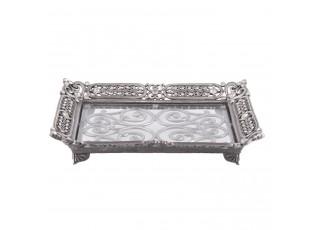Stříbrný antik kovový podnos s ornamenty a kamínky  - 19*14*4 cm