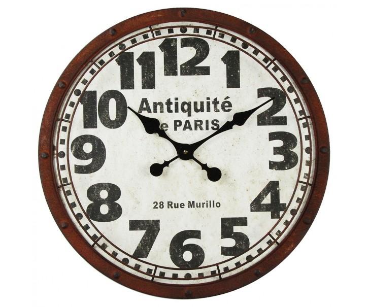 Kovové rezavé nástěnné hodiny Antiquité de Paris - Ø 58*5 cm