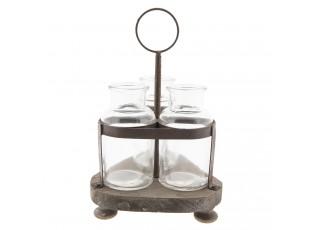 Tři lahvičky ve stojánku - 17*17*27 cm