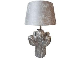 Stříbrná kovová stolní lampa Cactus  -Ø 25*43 cm