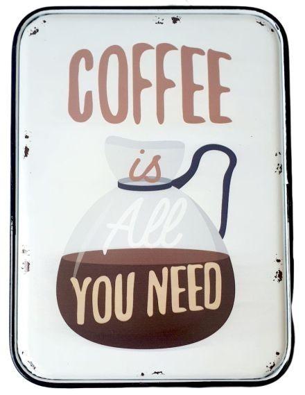 Nástěnná plechová cedule Coffee - 27*35 cm