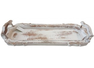 Bílý vintage tác s odřením - 53*20*9 cm
