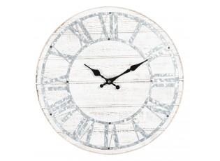 Bílé dřevěné nástěnné hodiny s patinou - Ø 40*4 cm