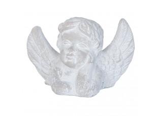 Šedá vekovní dekorace hlava anděla - 16*7*10 cm