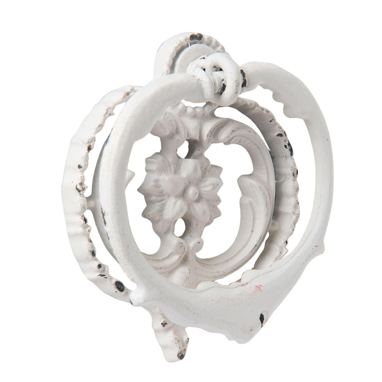 Bílé kovové klepadlo na dveře Ornament - 6*2*6 cm