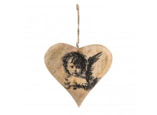 Závěsné dřevěné srdce s andělem - 13*1*13 cm