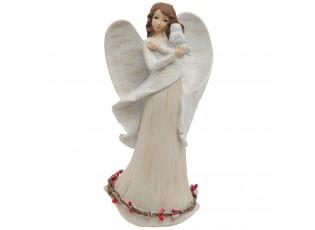 Bílý anděl se třpytkami - 11*6*21 cm