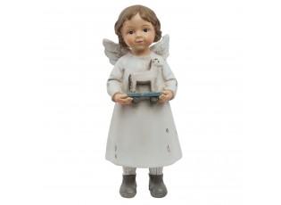 Bílý andílek s koníkem - 6*5*14 cm
